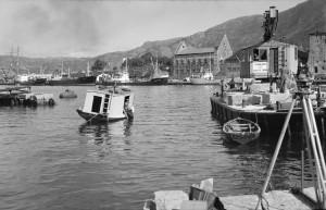 Munkebryggen i 1961. Fotograf: Ukjent. Arkivet etter Havneingeniøren, Bergen Byarkiv.