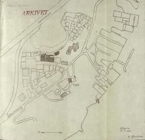 Kart over Gamle Bergen/Elsero. Tegnet av K. Bjerknes. Fra Arkivet etter Reguleringsvesenet, Bergen Byarkiv.