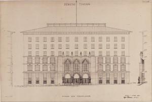 Tegning av Tinghusets fasade mot Tårnplass, datert og signert oktober 1933. Arkivet etter arkitekt Egil Reimers, Bergen Byarkiv.