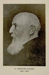 Gerhard Armauer Hansen (1841–1912), påviste leprabasillen (Mycobacterium leprae) 1873. Udatert trykk.