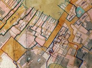 Utsnitt av Jacob J. Jersins rodekart for Bergen fra 1830-årene. Arkivet etter Oppmålingsvesenet. Bergen Byarkiv.