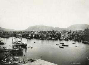 Stranden, også kalt Strandsiden, fotografert fra Valkendorfs tårn (Rosenkrantztårnet) på slutten av 1800 tallet.