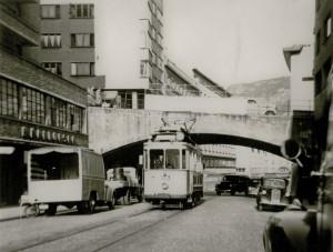 Smørsbroen fotografert på 1950-tallet. Fotograf: Ukjent. Arkivet etter Reguleringsvesenet, Bergen Byarkiv.