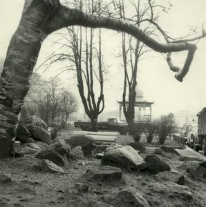Nedre Ole Bulls plass rundt 1960. Fotograf: Ukjent. Arkivet etter Reguleringsvesenet, Bergen Byarkiv.