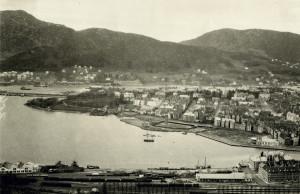 Nygårdstangen og Nonneseter fotografert rundt 1914. Fotograf: Ukjent. Arkivet etter Stadsingeniøren, Bergen Byarkiv.