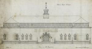 Arkitekt Ole Landmarks tegning av Rasmus Meyers Samlinger. Fra arkivet etter arkitekt Ole Landmark, Bergen Byarkiv.
