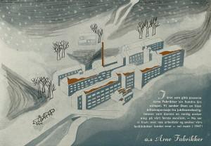Tegning i anledning Arne Fabrikkers 100-års jubileum i 1946.