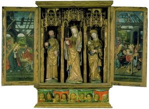 Bergen Museum. I Kirkekunstavdelingen oppbevares dette praktfulle alterskapet fra Austevoll, laget ca. 1520. I midten St. Sunniva, Bergens skytshelgen, flankert av disiplene Peter og Maria Magdalena. Fotograf: Norvall Skreien