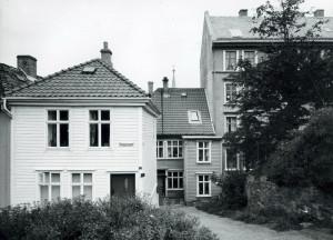 Haugesmauet fotografert rundt 1980. Fotograf: Øyvind H. Berger. Fotoregistrering av Bergen, Bergen Byarkiv.