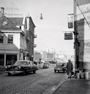 Bryggesporen i 1958 Fra Byplansjefens kontor. Fotograf: Ukjent Arkivet etter Reguleringsvesenet, Bergen Byarkiv
