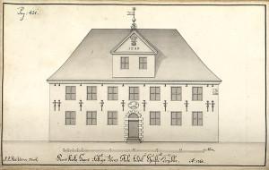 Christi Krybbe skole etter tegning av J.J. Reichborn fra 1765. Arkivet de eligerte menn, Bergen Byarkiv