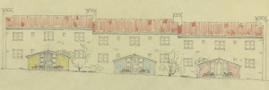 """""""De gamles by"""" i Kristofer Jansons vei 55 -71 ble tegnet av byarkitekt Eystein Michaelsen. Husene ble i sin tid prisbelønnet av Norske Arkitekters Landsforbund og Det Nyttige Selskab. Arkivet etter Byggprosjektavdelingen, Bergen Byarkiv."""