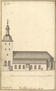 Statsbyggmester J. J. Reichborns tegning av Domkirken fra1768. Illustrasjon er hentet fra Hildebrandt Meyers manuskripter, Bergen Byarkiv.