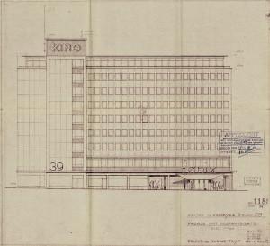 Engen Kino sto ferdig i 1961. Arkitektene Erlend og Oddvar Trytis tegning av bygningens fasade mot Neumanns gate fra 1959. Arkivet etter Bygningssjefen, Bergen Byarkiv.