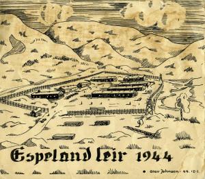 Espeland leir i 1944. Tegnet av Olav Johnsen.