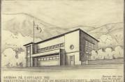 Tegning av Espelandshallen, datert desember 1938 og signert arkitekt Ole Halvorsen. Arkivet etter arkitektene Arne og Ole Halvorsen, Bergen Byarkiv.