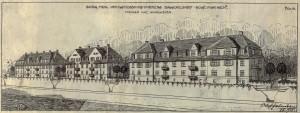 Bergens Mekaniske Verkstedsfunksjonærers Byggeselskaps boliger i Fjøsangerveien. Tegning av arkitekt Olaf Jansen, datert 1915.