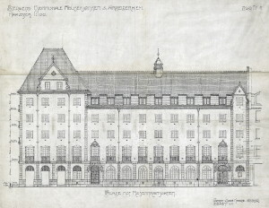 Fasadetegning av Hotell Rosenkrantz, Rosenkrantzgaten 7. Bygget ble oppført i 1921. Arkitekter var ark. Fredrik Arnesen og Arthur Darre Kaarbø. Fra arkivet etter arkitektene Arnesen og Darre Kaarbø, Bergen Byarkiv.