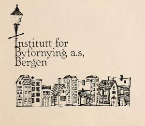 Logoen til Institutt for Byfornying AS. Arkivet etter Institutt for Byfornying AS, Bergen Byarkiv.