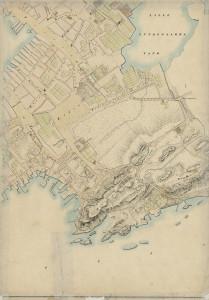 Fra generalkartet for Bergen som ble utarbeidet av O.P.R. Höegh i 1848. Arkivet etter oppmålingsvesenet, Bergen Byarkiv.