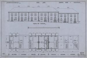 Tegning av selvbyggerhus i Falsens vei, signert Jon Knudsen i juli 1928. Arkivet etter Byggprosjektavdelingen, Bergen Byarkiv.