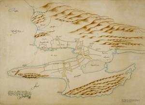 Kopi av Isac van Geelkercks fortifikasjonskart over Bergen fra 1646. Det eldste kjente kart fra Bergen. Arkivet etter Oppmålingsvesenet, Bergen Byarkiv