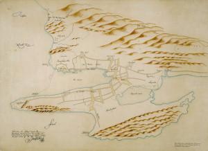Kopi av Isac van Geelkercks fortifikasjonskart over Bergen fra 1646. Det eldste kjente kart fra Bergen. Arkivet etter Oppmålingsvesenet, Bergen Byarkiv.