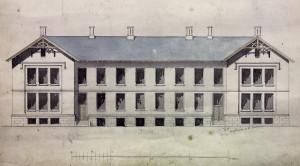 Arkitekt Heinrich Ernst Schirmers tegning av det gjenreiste Lungegårdshospitalet. Bygningen ble oppført i mur, og erstattet det første Lungegårdshospitalet som brant ned i 1853. Arkivet etter Pleiestiftelsen for spedalske nr. 1, Bergen, Bergen Byarkiv.