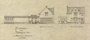 Markens folkebad ble tegnet av stadsarkitekt Th. Bjørnstad i 1903. Bygningen har flere jugendstil elementer. Arkivet etter Byarkitekten, Bergen Byarkiv.