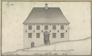 Nykirkens fattigskole, hadde tilnavnet Grønneskolen. Reichborns tegning fra 1768. Arkivet etter De eligerte menn, Bergen Byarkiv.