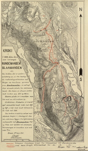 Kart over Rundemanen og Blåmanen. Rundemansveien ble planlagt i årene 1911-1912 og tatt i bruk i 1912. Bergens kommuneforhandlinger sak 85/1911, Bergen Byarkiv.