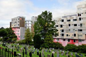 I alt 727 lavenergi studentboliger i Grønneviksøren, like ved Møllendal gravplass, sto innflytningsklare høsten 2013.<br />Fotograf: Knut Skeie Aksdal, Bergen Byarkiv, 2013.