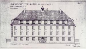 Arkitekt Olai Schumann Olsen tegning av aldershjemmet på Storhaugen. Fasade mot nordøst, med hovedatkomst. Arkivet etter Byggprosjektavdelingen, Bergen Byarkiv