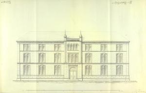 Tegning av Tanks skole fra 1853. Arkivet etter Hans Tank og Hustrus Maria Tanks legat, Bergen Byarkiv.