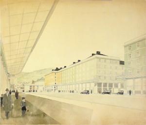Etter bybrannen i 1916 ble Torgallmenningen omregulert. Arkitekt Finn Berner fikk i oppdrag å utforme en nyklassisistisk fasadeplan.<br />Finn Berners tegning.<br />Arkivet etter Reguleringsvesenet, Bergen Byarkiv.