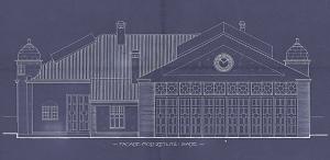 Tegning av Trikkehallen på Møhlenpris. Bygningen ble tegnet av Schak Bull i 1913. Trikkehallen er fredet, og huser i dag Bergen Tekniske Museum. Arkivet etter Bygningssjefen, Bergen Byarkiv.