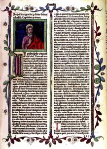 Universitetet i Bergen. En side av Biblia sacra 1476 – Universitetets eldste trykte bok. Bibelen er trykket i Venezia av den franske boktrykkeren Nicolas Jenson. De første sidene er prydet med håndmalte initialer. Bibliotekets eldste manuskript er en latinsk middelalderkodeks fra år 1200. Fotograf: Norvall Skreien.