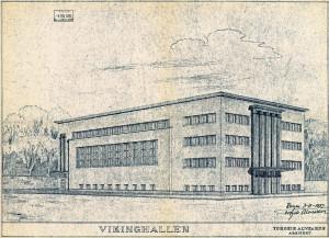 Vikinghallen ble innviet i 1935, til bruk for Turn- og Idrettsforeningen Viking. Arkitekt Torgeir Alvsakers tegning av Vikinghallen. Arkivet etter Bygningssjefen, Bergen Byarkiv.