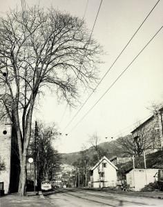 Haukelandsveien fotografert i 1962. Fotograf: Lie Pettersen. Arkivet etter Reguleringsvesenet, Bergen Byarkiv.