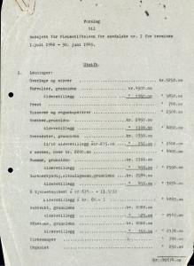 Forslag til budsjett for Pleiestiftelsen for spedalske nr. I,  terminen 1. juli 1942-30 juni 1943.<br />Arkivet etter St. Jørgens Hospital, Bergen Byarkiv.