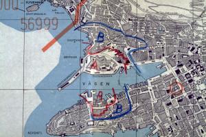 Kartutsnitt som viser skadeomfanget av eksplosjonen 20. april 1944. Arkivet etter Katastrofeutvalget. Bergen Byarkiv.