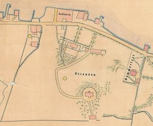 Lyststedet på Stranden. Utsnitt av havnekart over Puddefjorden. Arkivet etter Havnestyret, Bergen Byarkiv.