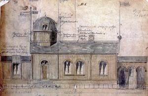 Et enetasjes observatorium på Nordnes ble bygd etter tegninger av arkitekt Frantz Wilhelm Schiertz i 1869. Denne tegningen viser et tidligere utkast tegnet av arkitekt Frederik Hannibal Stockfleth, datert 1862. Arkivet etter Bergen Magistrat, Bergen Byarkiv.