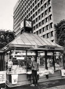 Narvesen kiosk i Kaigaten. Foto fra tidlig 1980-tall. Kiosken ble senere revet. Fotograf: Ukjent. Arkivet etter Morgenavisen AS, Bergen Byarkiv.