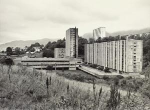 Fantoft studentby er Studentsamskipnadens største anlegg med 1312 boenheter. Fotograf: Ukjent.