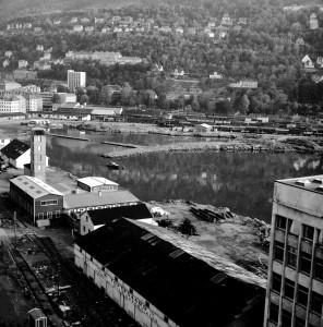 Nygårdstangen i 1962. Fotograf: Ukjent. Arkivet etter Bergens Arbeiderblad/Bergensavisen, Bergen Byarkiv.