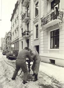 Konsul Børs' gate1 mars 1983. Fotograf: Ukjent. Arkivet etter Morgenavisen A/S, Bergen Byarkiv.