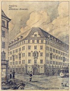 Nybygning etter bybrannen i 1916 for apoteket Svanen, tegnet av arkitektene Arnesen og Darre Kaarbø. Arkivet etter Arnesen og Darre Kaarbø, Bergen Byarkiv.