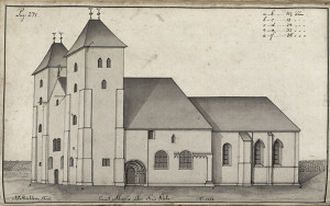 Statsbyggmester J. J. Reichborns tegning av Mariakirken fra1768. Fra Hildebrandt Meyers manuskripter. Arkivet etter De eligerte menn, Bergen Byarkiv.