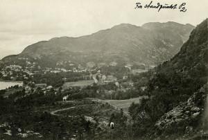 Årstad og Kalfaret fotografert fra Haukeland rundt 1900.